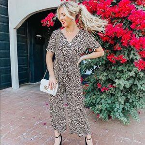 Leopard Tie Front Jumpsuit